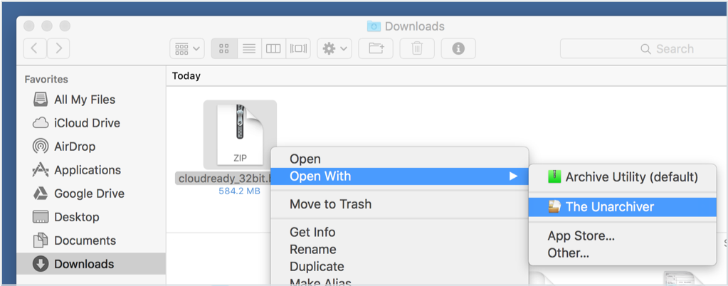 Mac Installer - Open With Unarchiver