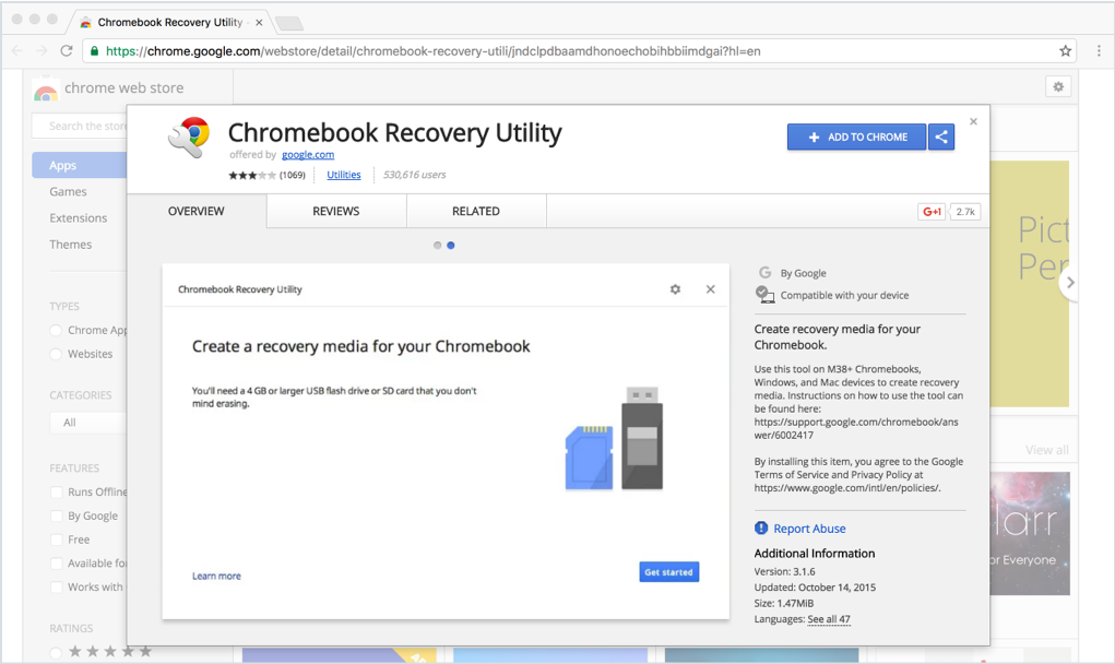 Mac - Chromebook Recovery Utility installation