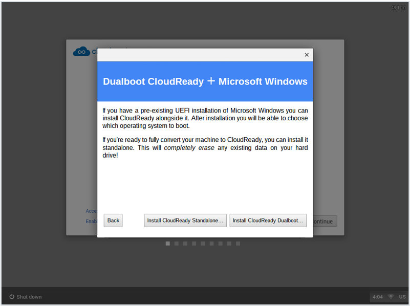 CloudReady - choose dual-boot or standalone installation
